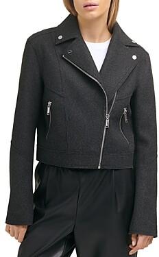 DKNY Felt Cropped Moto Jacket