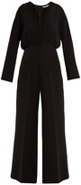 Emilia Wickstead Sally-Ann smocked wide-leg crepe jumpsuit