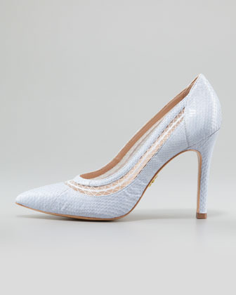 Pour La Victoire Cailyn Lace-Snake Pointy-Toe Pump, Lilac