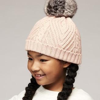 Wonder Co. Ribbed Pom-Pom Beanie with Sherpa Lining Pink