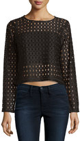 Neiman Marcus Long-Sleeve Cropped Lace Jersey Top, Black