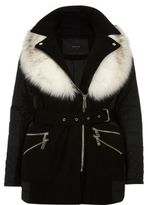 River Island Womens Plus padded faux fur collar coat