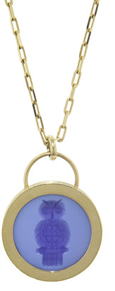 Retrouvai Wise Owl Signature Padlock Intagilo Blue and White Agate Necklace - Yellow Gold