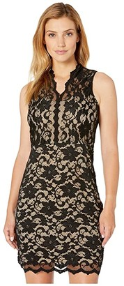 Karen Kane V-Neck Sleeveless Lace Dress (Black/Nude) Women's Clothing
