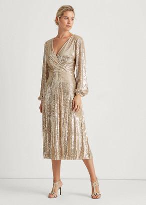 Ralph Lauren Sequined Surplice Dress