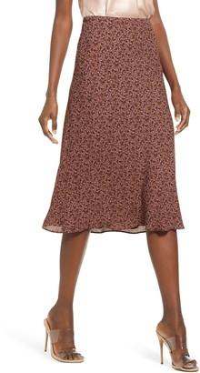 Socialite Print Bias Cut Skirt