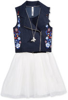 Beautees 2-Pc. Embroidered Moto Vest, Dress, & Necklace Set, Big Girls (7-16)