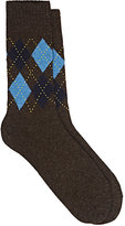 Barneys New York Men's Argyle Fine-Gauge Knit Mid-Calf Socks-BROWN