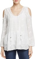 Daniel Rainn Embroidered Cold Shoulder Top