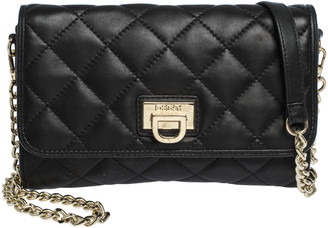 DKNY Black Quilted Leather Flap Chain Shoulder Bag