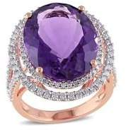 Sonatina 14K Rose Gold, Amethyst & 0.88 TCW Diamond Double Halo Cocktail Ring