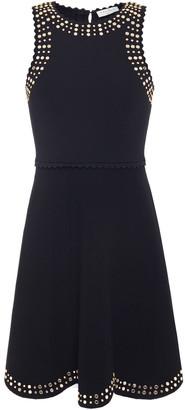 Sandro Jenn Scalloped Embellished Stretch-knit Mini Dress