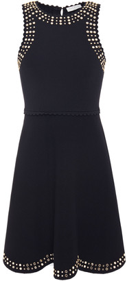 Sandro Studded Stretch-ponte Mini Dress