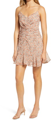 ALL IN FAVOR Surplice Ruched Waist Cami Dress