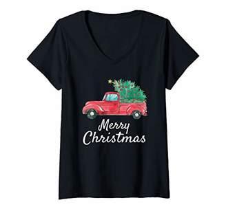 Womens Vintage Red Truck Hauling Christmas Tree Merry Christmas V-Neck T-Shirt
