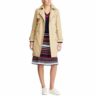 Chaps Women's Double Breasted Waterproof Trench Classic Overcoat Jacket