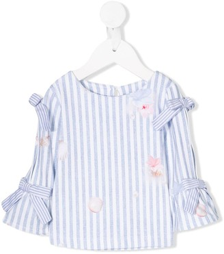 Lapin House Bow-Embellished Striped Blouse