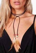 boohoo Plus Louise Beaded Feather Detail Choker black