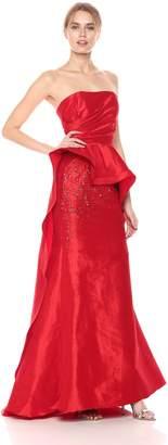 Mac Duggal Women's Asymmetrical Peplum Bustier Gown Red