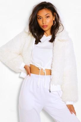 boohoo Textured Teddy Faux Fur Jacket