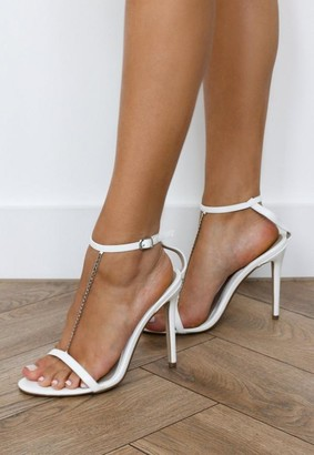 Missguided White Chain T Bar Heeled Sandals