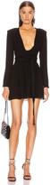 Saint Laurent Plunging Long Sleeve Mini Dress in Black   FWRD