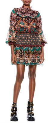 Alice + Olivia Marella Print Long Sleeve Minidress