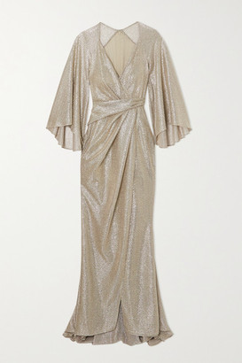 Talbot Runhof Bologne Wrap-effect Metallic Voile Gown - Gold