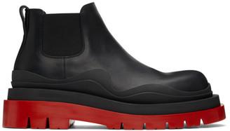 Bottega Veneta Black and Red Low Tire Chelsea Boots