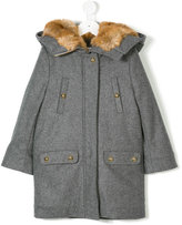 Chloé Kids fur lined hooded coat