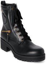 Love Moschino Black Chunky Leather Lace-Up Boots