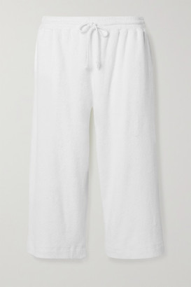 Skin Yulia Cropped Textured Cotton-blend Terry Pajama Pants - White
