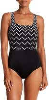 Reebok Visual Touch Scoop Back One-Piece Swimsuit - Extended Sizes Available