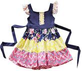 Honeydew Blue & Yellow Floral Tiered Angel-Sleeve Dress - Girls