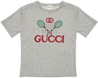 Gucci LOGO TENNIS COTTON JERSEY T-SHIRT