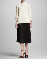 Marc Jacobs Hammered Satin Long Wrap Skirt, Black