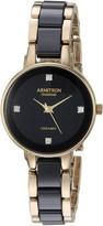 Armitron Women's 75/5532BKGP Diamond-Accented Gold-Tone and Black Ceramic Bracelet Watch