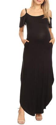 White Mark-Maternity Short Sleeve Maxi Dress