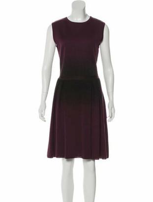 Christian Dior Pleated Knee-Length Dress Purple