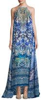 Camilla High-Neck Embellished Silk Maxi Dress, Guardian of Secrets