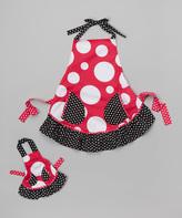 Dollie & Me Fuchsia & Black Dot Apron & Doll Outfit - Girls