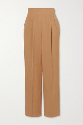 USISI SISTER Flora Pleated Woven Straight-leg Pants - Camel