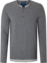 Scotch & Soda Faux Double Layer Henley T-shirt, Graphite Melange