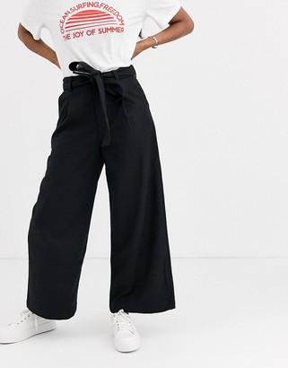 Moon River tie waist wide leg trousers