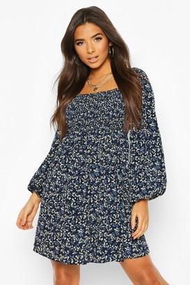 boohoo Floral Print Square Neck Shirred Top Smock Dress