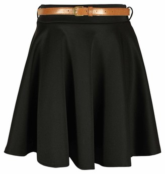 Purple Hanger Womens New Plain Formal Skater Flared Ladies Detachable Belted Frankie Mini Short Stretch Work Party Skirt Black Size 8-10
