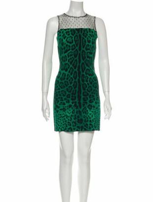 Dolce & Gabbana Animal Print Mini Dress Green