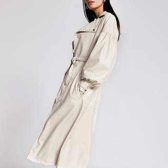 River Island White faux leather studded belt trench coat