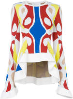 Esteban Cortazar colour-block peplum top
