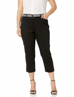 Rafaella Women's Plus Size Pique Belted Capri